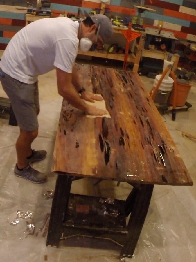 wipe resin table after sanding