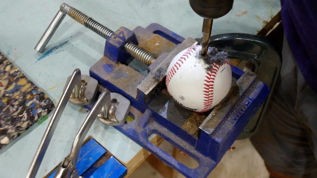 """baseball lamp drill 3/8"""" hole in baseball"""