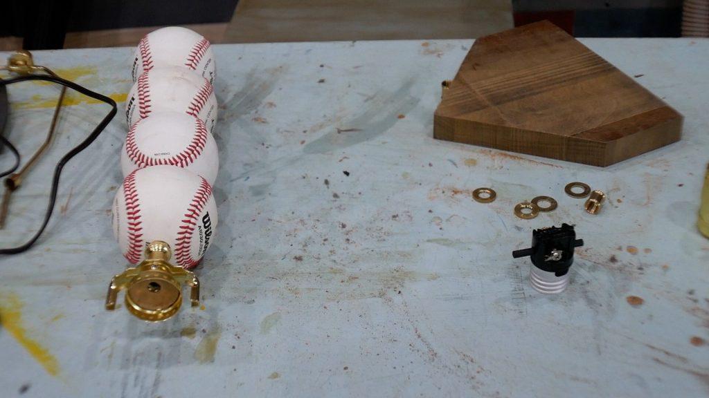 baseball lamp top hardware installed