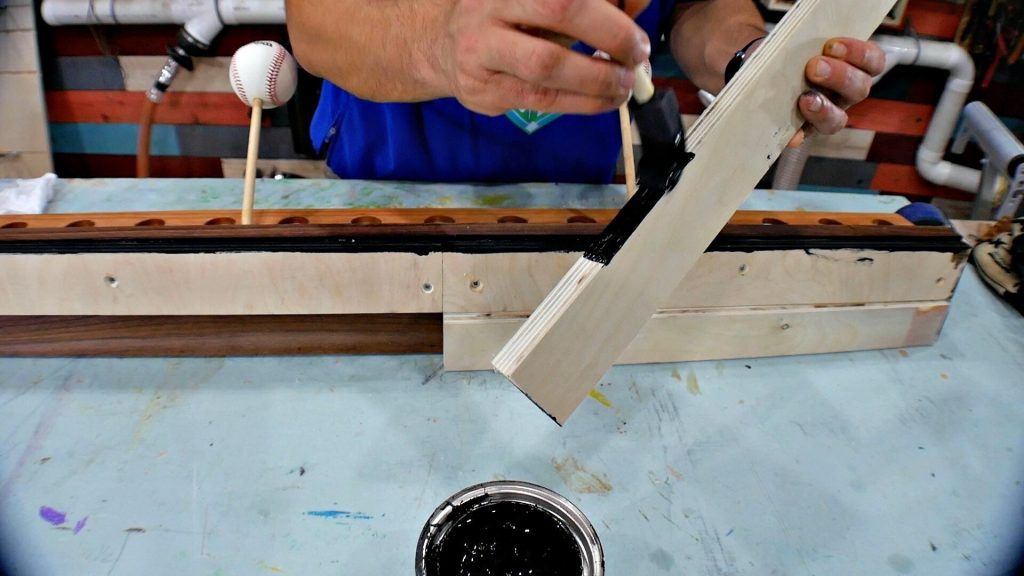 diy baseball bat holder wood stain