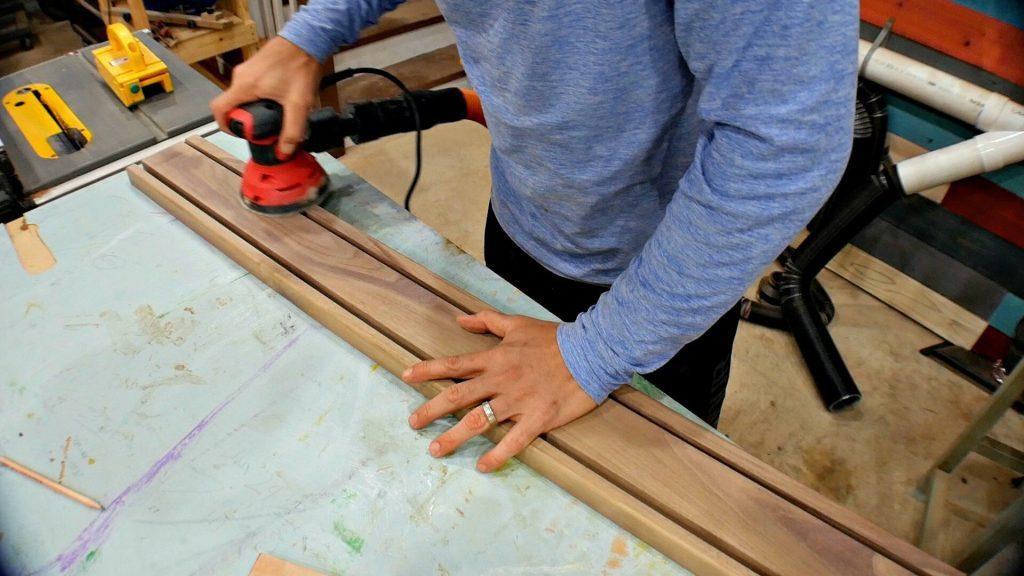 diy baseball bat holder wood sanding