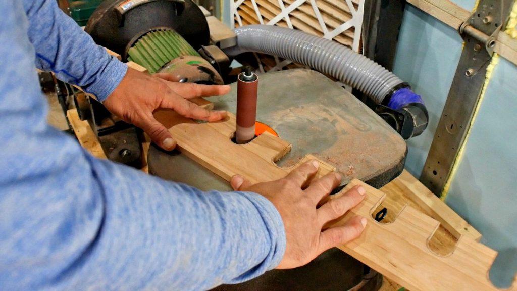 diy baseball bat holder template sanding