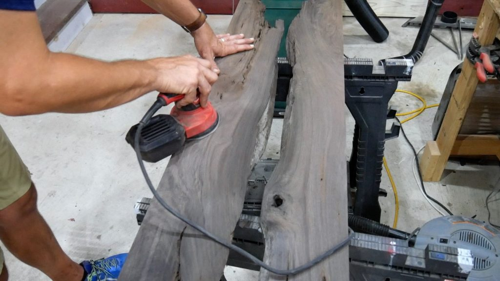 Walnut River Table - End Sanding