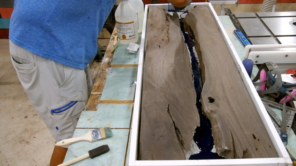 Walnut River Table - epoxy resin 1st layer