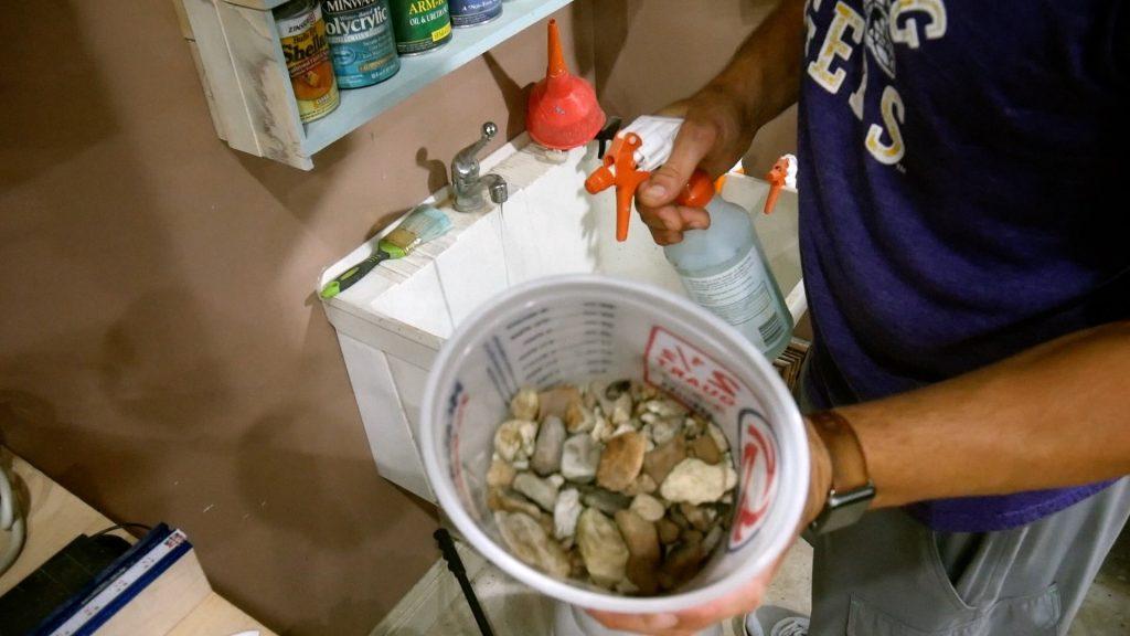 Walnut River Table - epoxy resin rocks