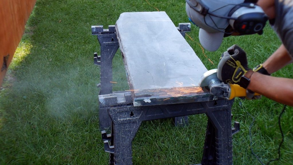 Walnut River Table - grinding sparks