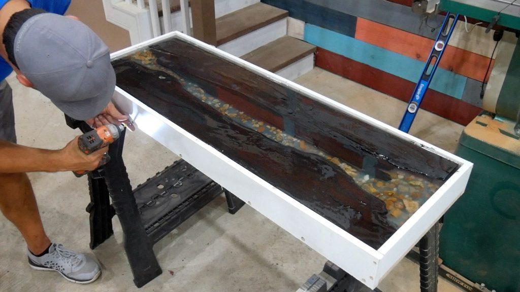 Walnut River Table - melamine remove screws