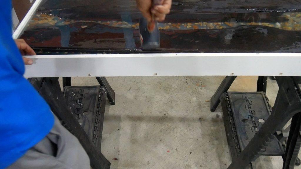Walnut River Table - melamine rubber mallet