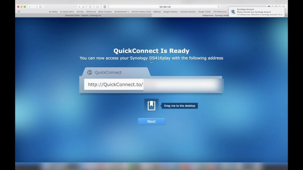 Synology QuickConnect Bookmark
