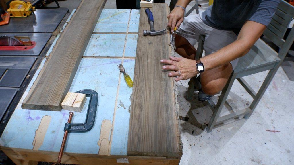 remove bark from live edge wood slab