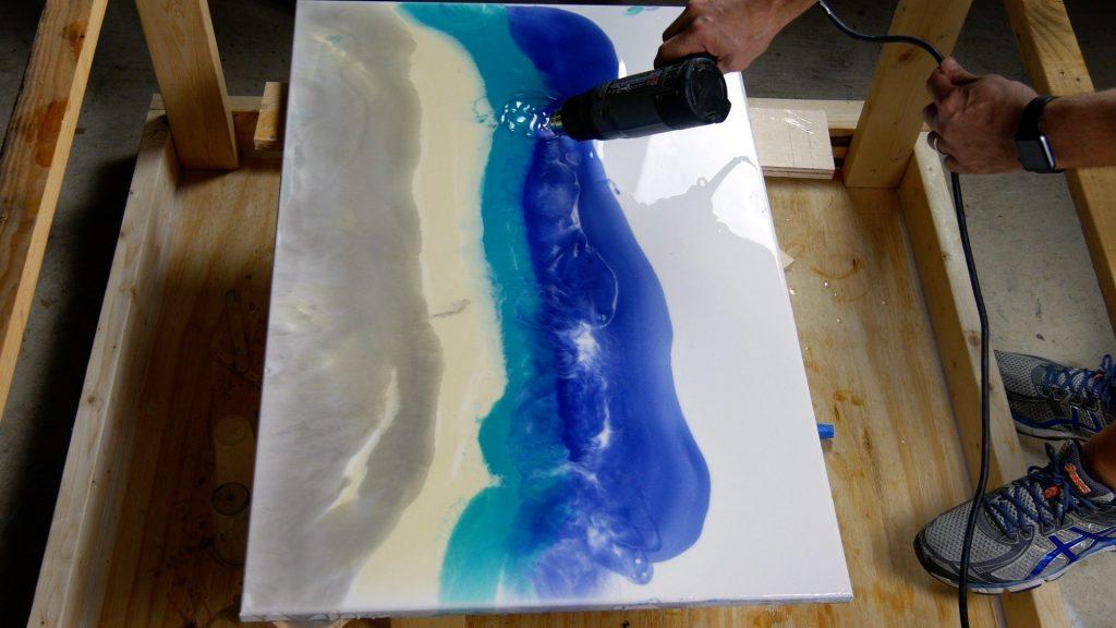 how to make resin art heat gun