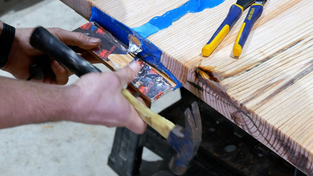 how to make a rustic table with epoxy resin - remove HVAC tape