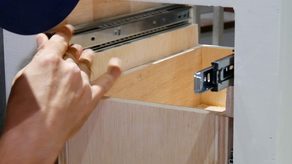 DIY Base Cabinet with Drawers_drawer slide ease out