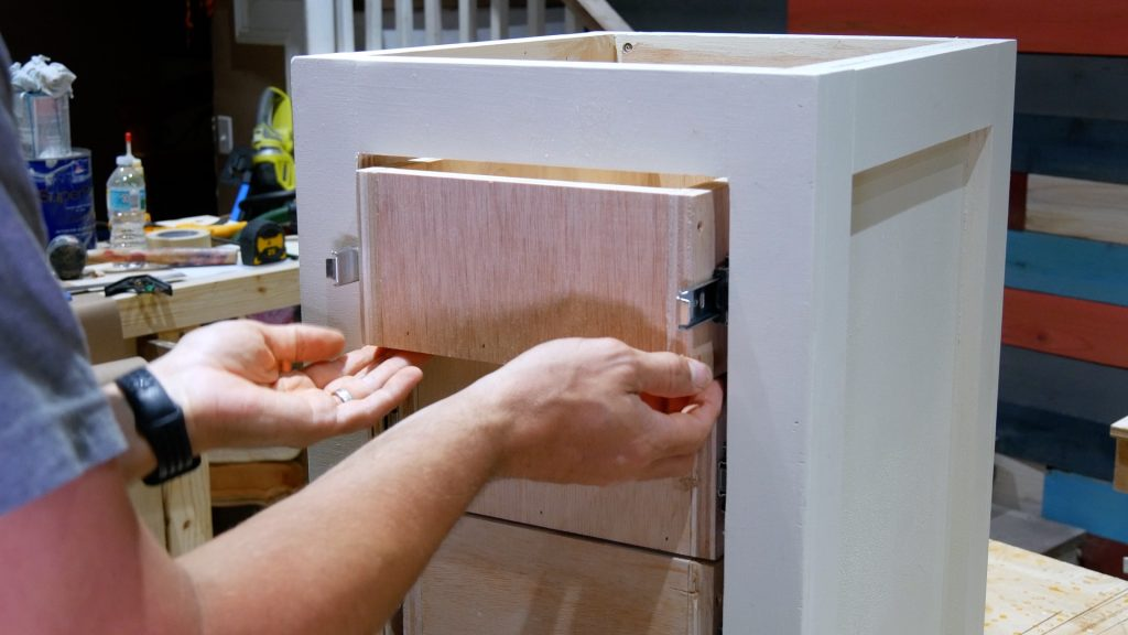 DIY Base Cabinet with Drawers_screw drawer slide to drawer side