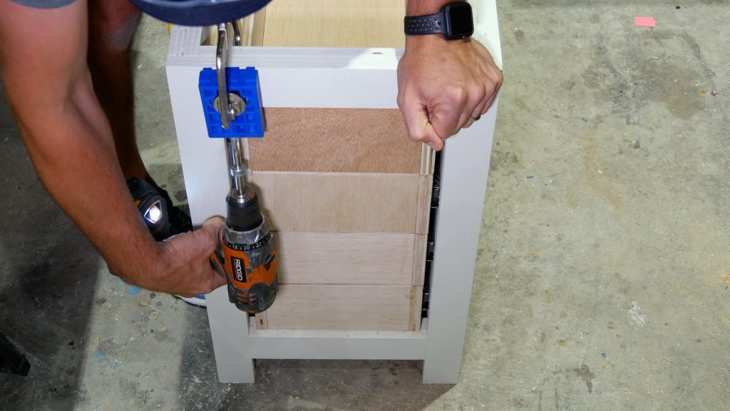 DIY Base Cabinet with Drawers_attach to table with Kreg jig right side