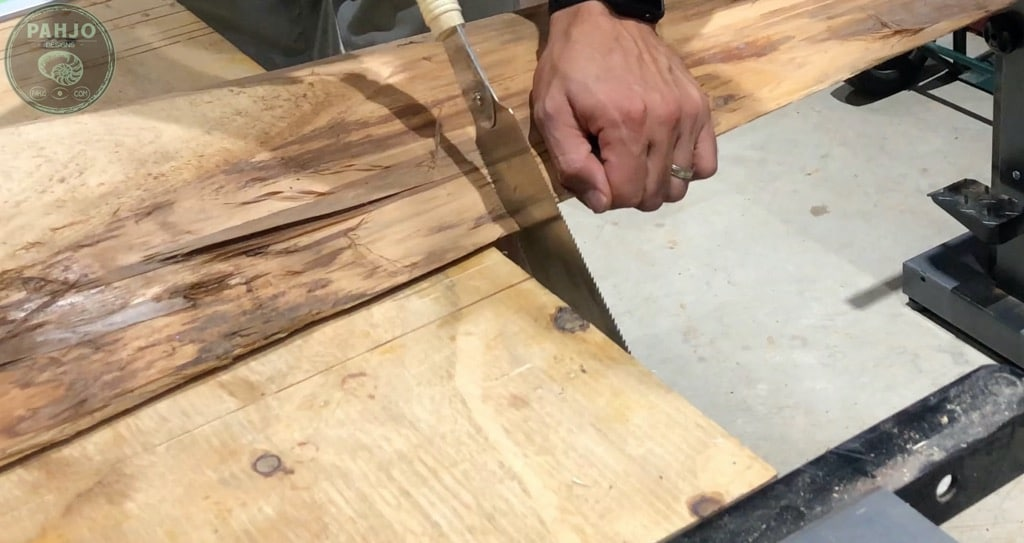 Cut Live Edge Wood with Japanese Saw