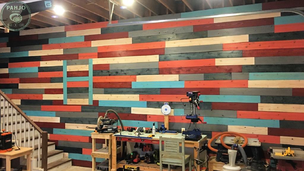 DIY cedar accent wall reclaimed fence boards
