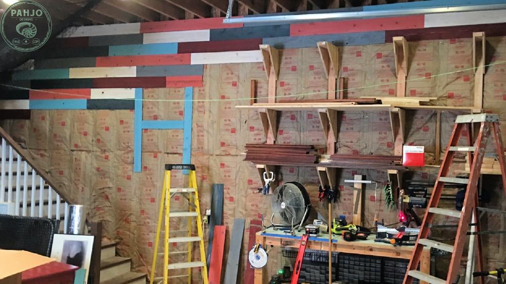 DIY cedar accent wall