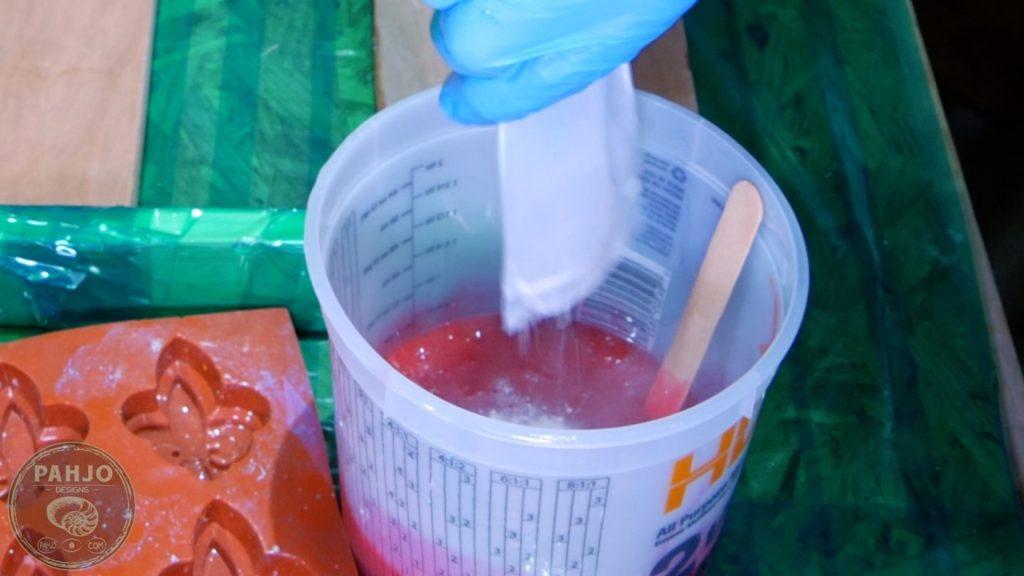 DIY Wood and Resin Wall Art - Baseball Storage Rack_Mixing Red Glow Powder to Resin