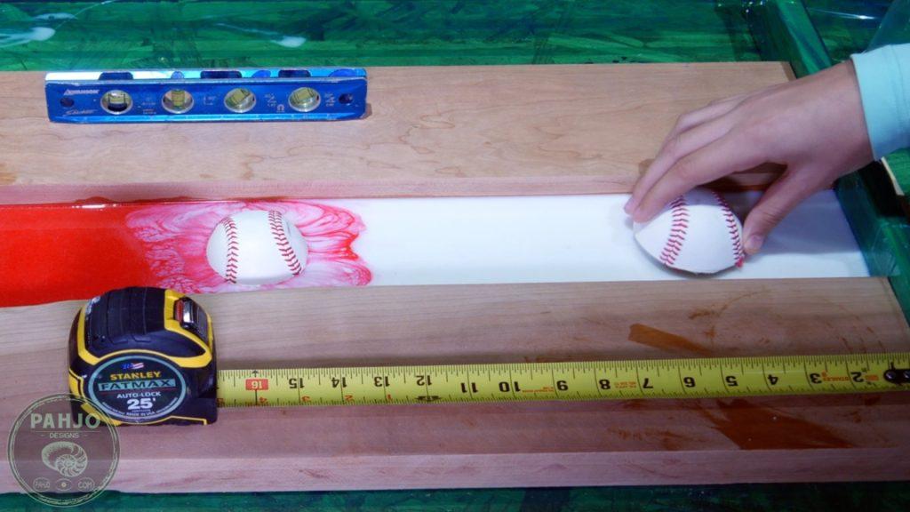 DIY Wood and Resin Wall Art - Baseball Storage Rack_baseball in resin