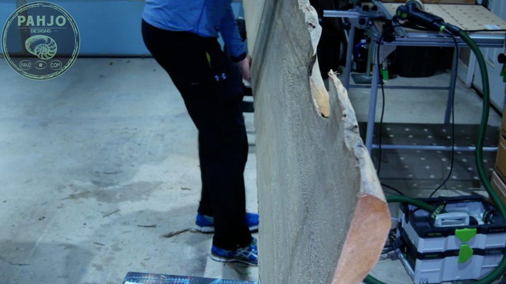 Epoxy Bar Top using Reclaimed Wood_rough sanding