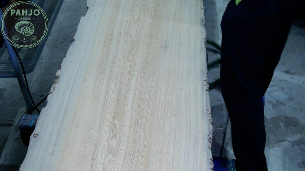 Epoxy Bar Top using Reclaimed Wood rough sanding