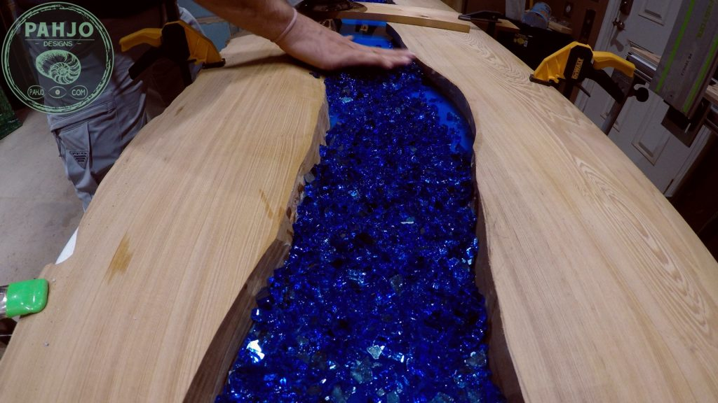 Epoxy Bar Top using Reclaimed Wood fire glass