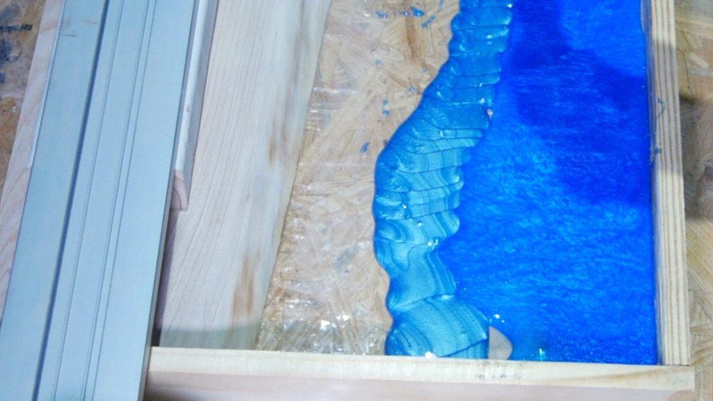 wood resin beach art pour light blue