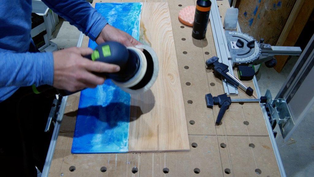 wood resin beach art polishing sheepskin pad
