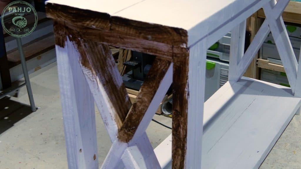 apply dark creme wax to distress painted furniture