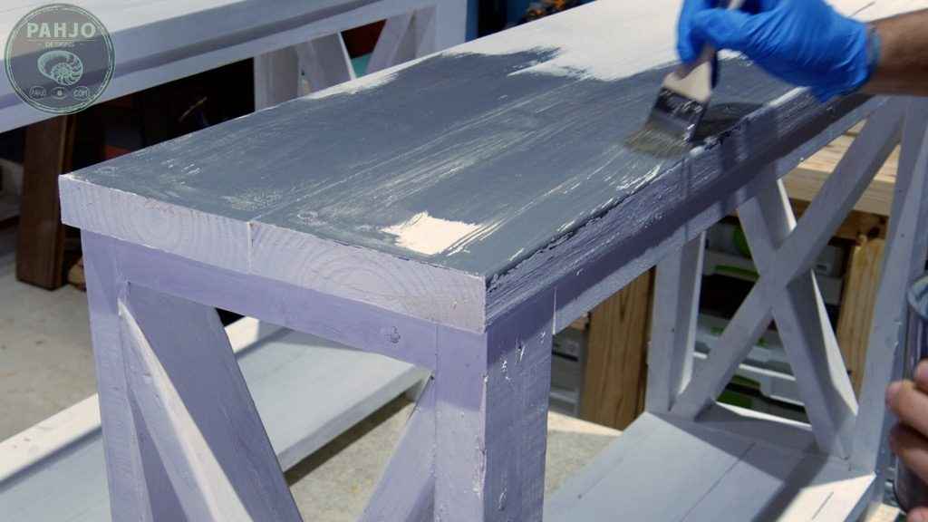 apply wood stain on painted furniture