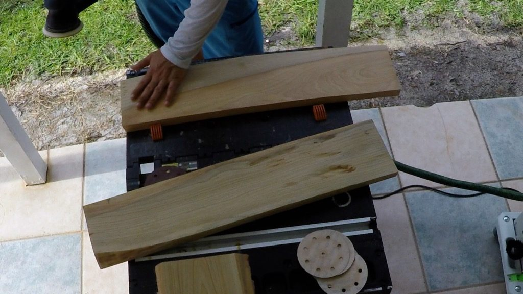 rough sanding cypress wood for resin ocean wave art