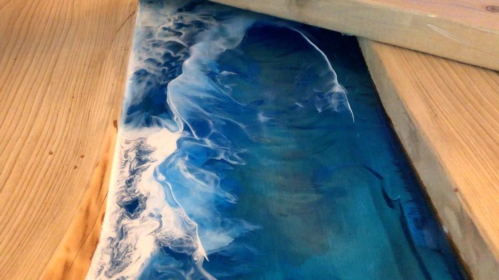 resin ocean wave art tutorial using alcohol ink