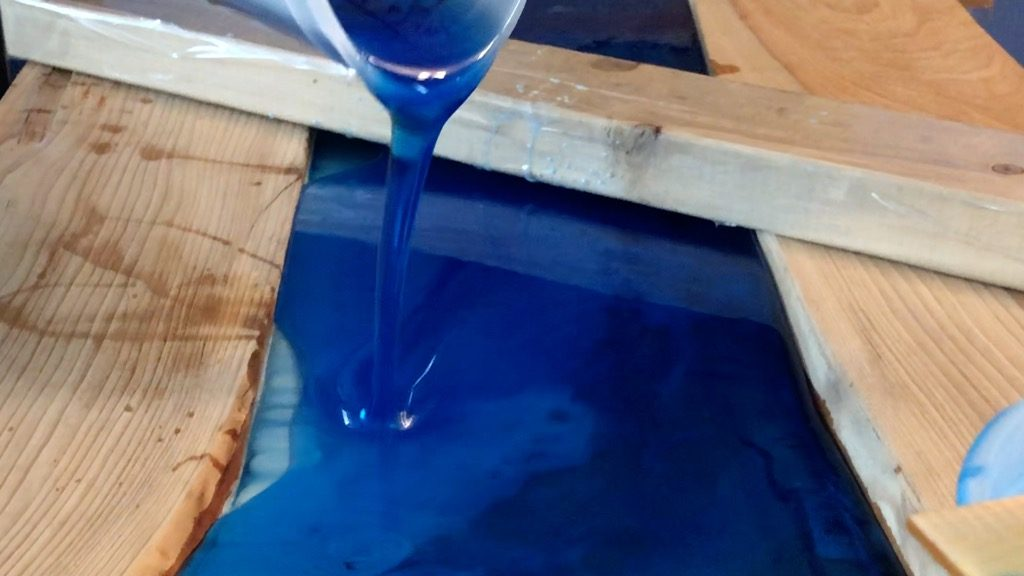 translucent blue epoxy resin pour