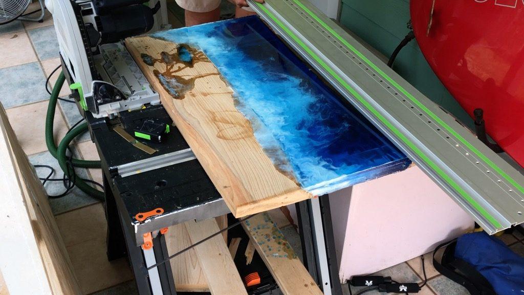 trim resin art with Festool TS75 track saw