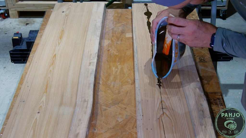 Filling Wood Cracks with Colored Epoxy