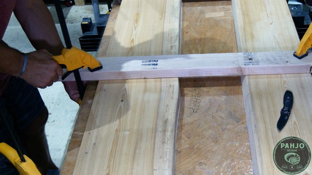 securing wood slab to river desk mould