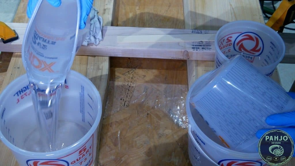 how to mix liquid glass 2.0 epoxy for river table