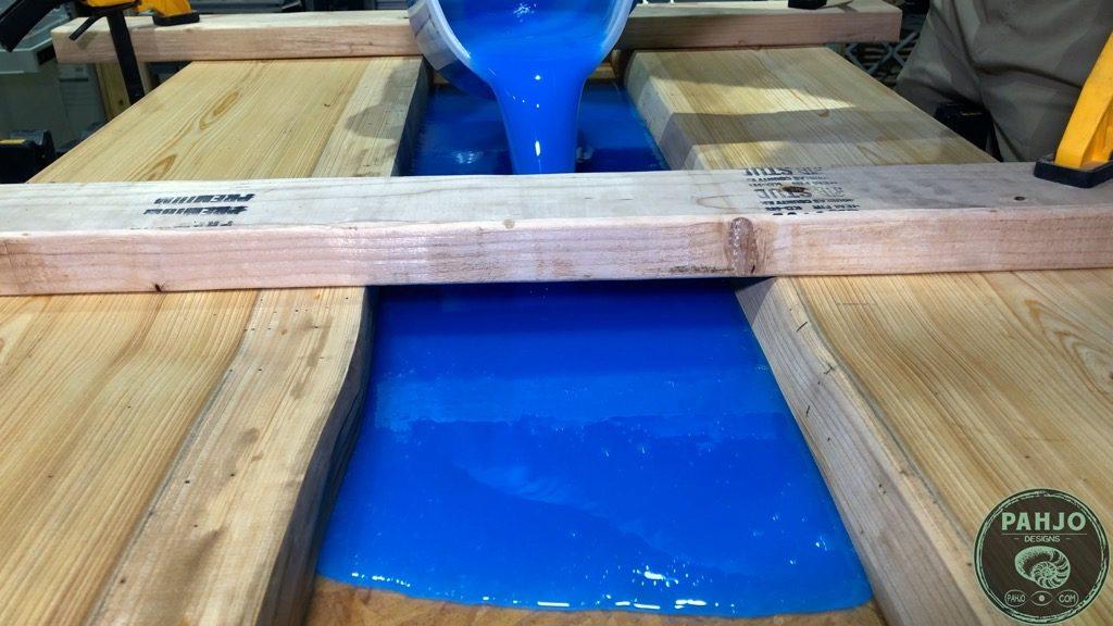 epoxy pour for transparent river desk