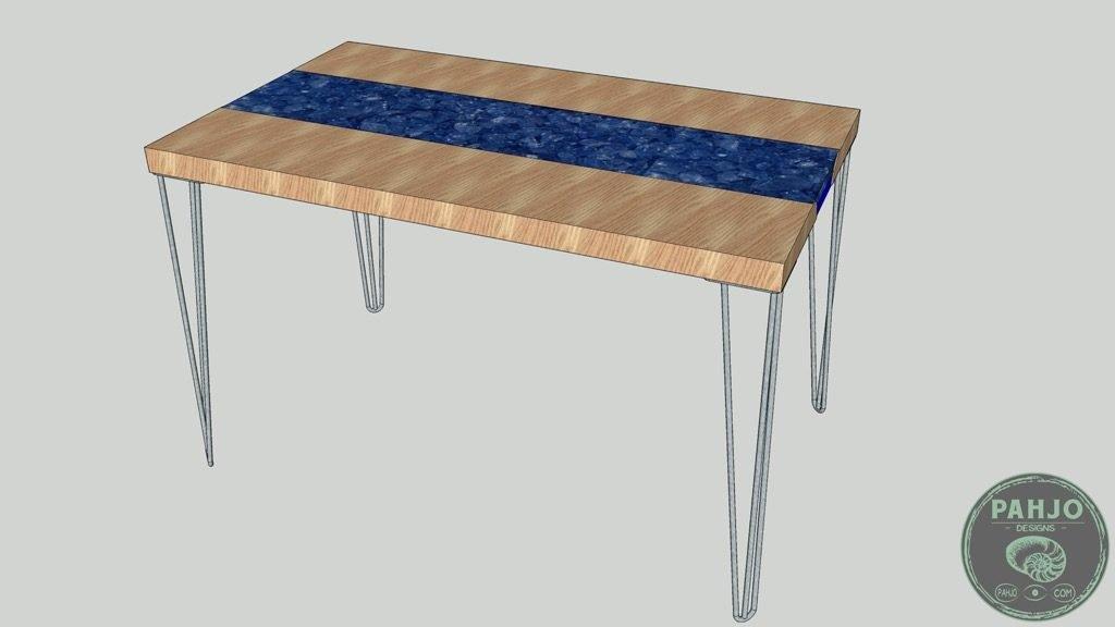 transparent epoxy river desk with rocks 3D model