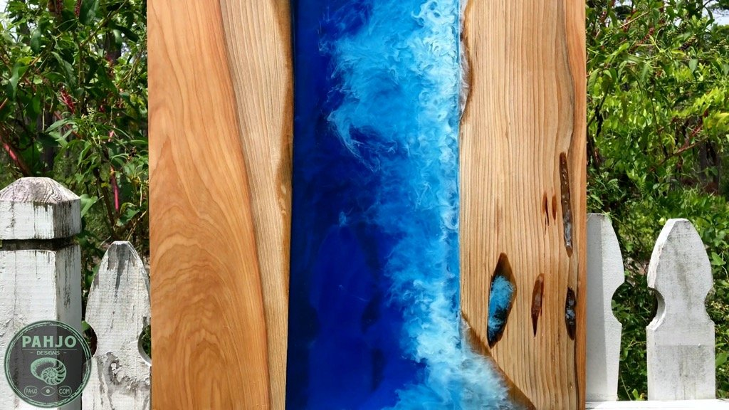 resin and wood wave art