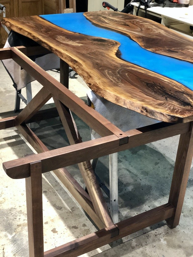 farmhouse trestle table top and base