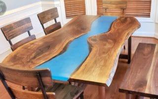 DIY Walnut Slab Epoxy Dining Table