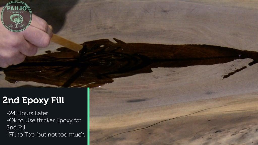 filling walnut slab crack with epoxy