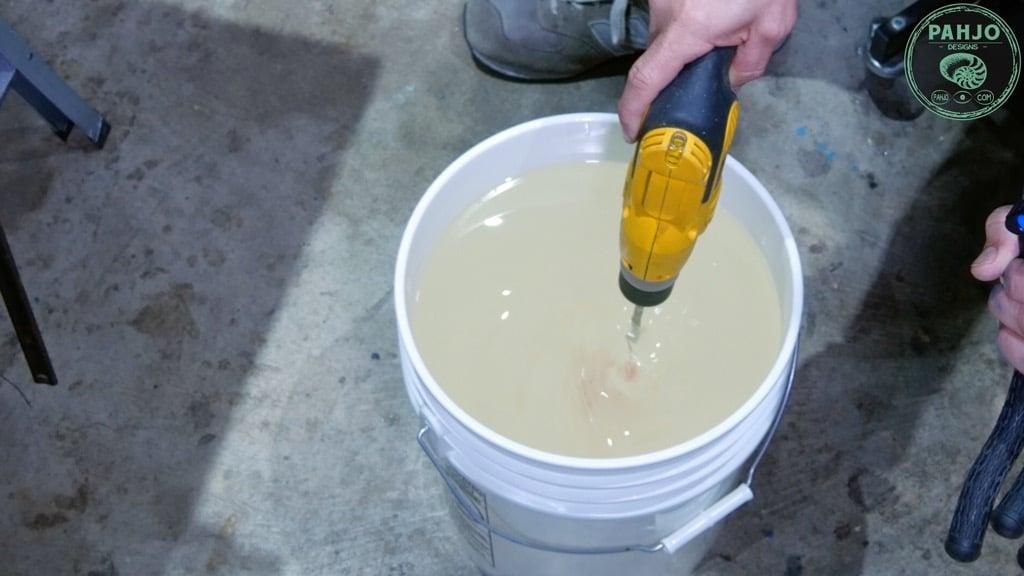 mix epoxy with drill paddle