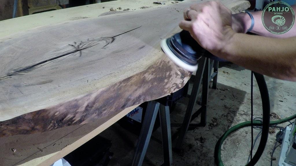 how to sand live edge wood slab