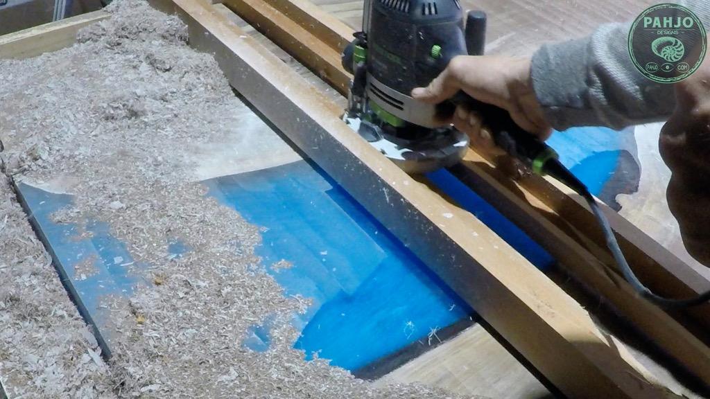 flatten wood slab epoxy table