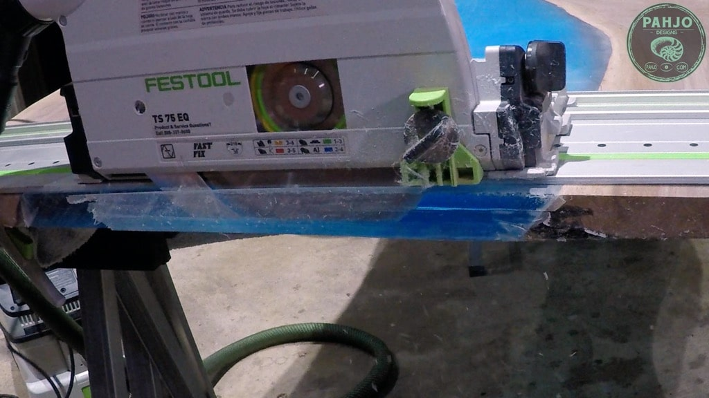 use track saw to square ends of table