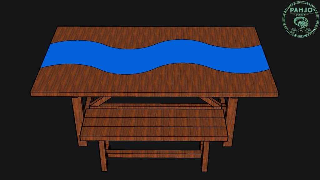 diy walnut slab epoxy dining table sketchup