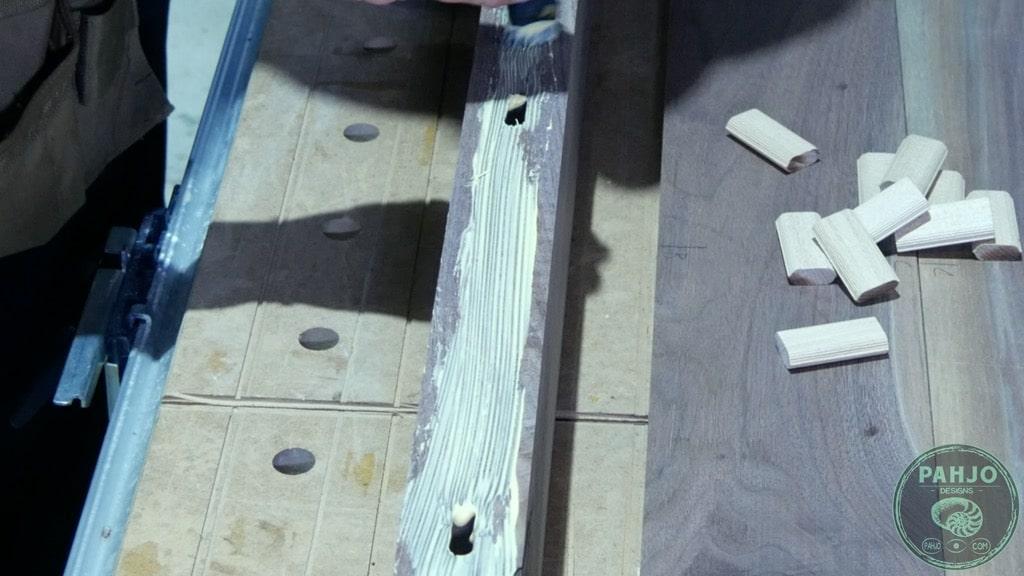 spread glue on mortises